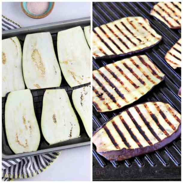 Two process photos of sweating and grilling eggplant.