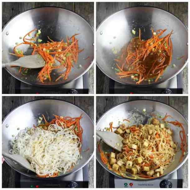 4 process photos of cooking vegan pad thai in a stainless steel wok.