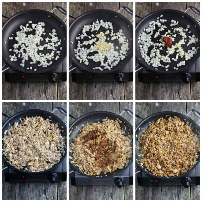Six process photos of cooking filling in a pan.