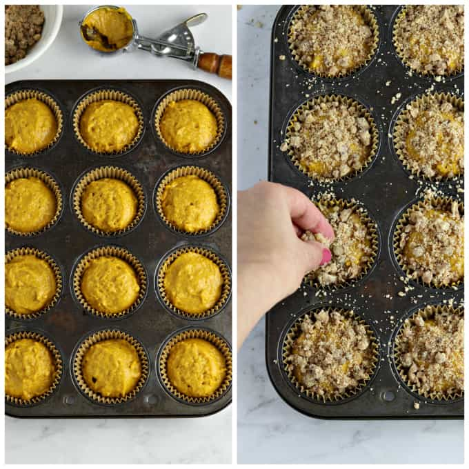 Two process photos of filling muffin tin with batter and adding crumble topping.