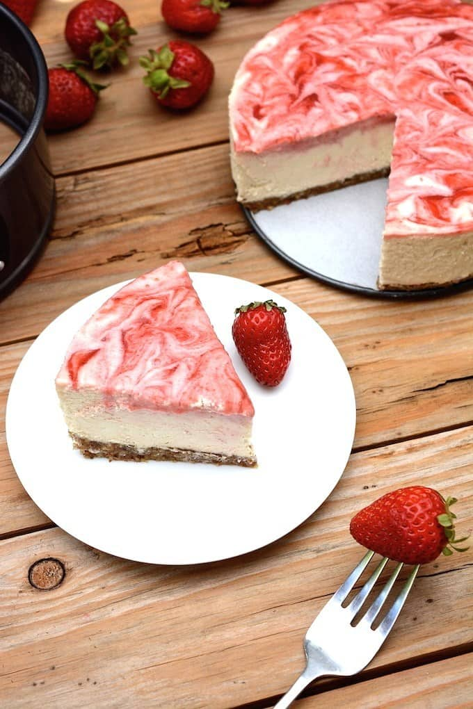 No-Bake Strawberry Swirl Cheesecake