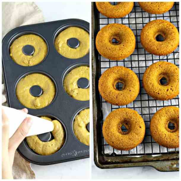 2 process photos of filling donut pan with batter and fully baked donuts on a cooling rack.