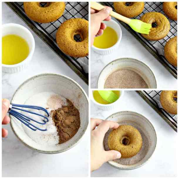 3 process photos of coating donuts with cinnamon sugar.