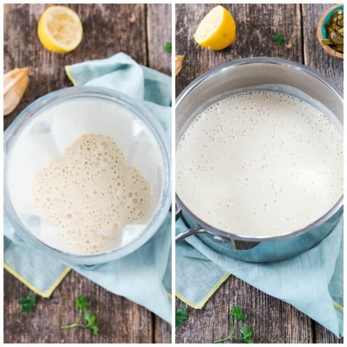 2 process photos of blending vegan cheese sauce, then adding to a saucepan.