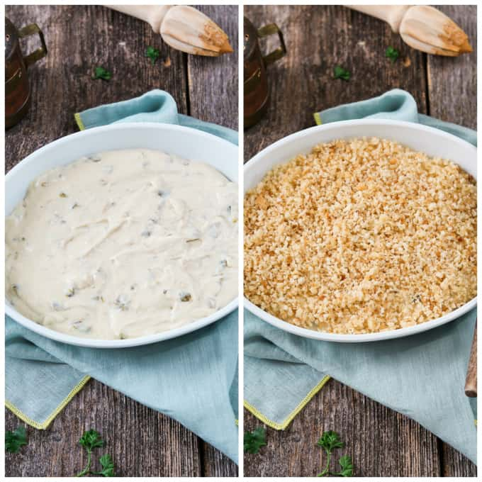 Two process photos of adding jalapeño popper dip to a white casserole dish and then adding breadcrumbs.