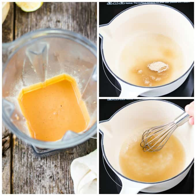 3 process photos of blending vegan cheddar cheese and then pouring and mixing agar agar in water with a whisk.