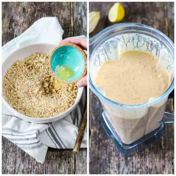 Two process photos of pouring vegan butter into breadcrumbs. Then blending vegan cheese sauce.