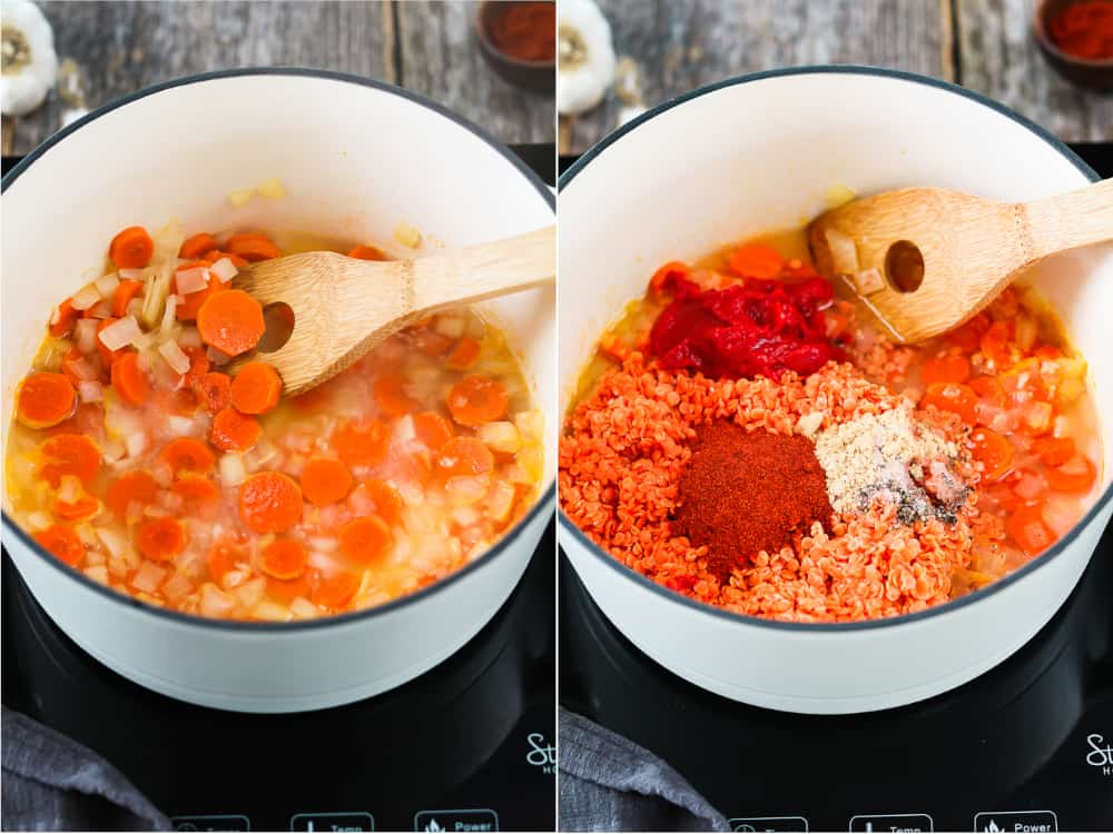 Cooking red lentil soup in a white pot with a wooden spoon.