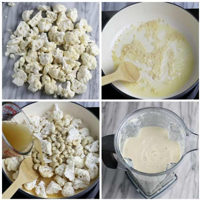 4 process photos of chopped cauliflower, sautéing garlic, simmering cauliflower and blending vegan alfredo sauce.