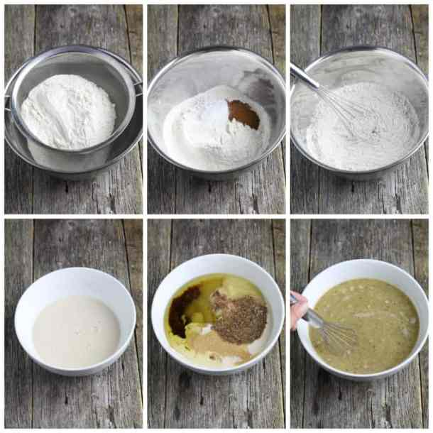 6 process photos of making vegan carrot cake batter in a mixing bowl.