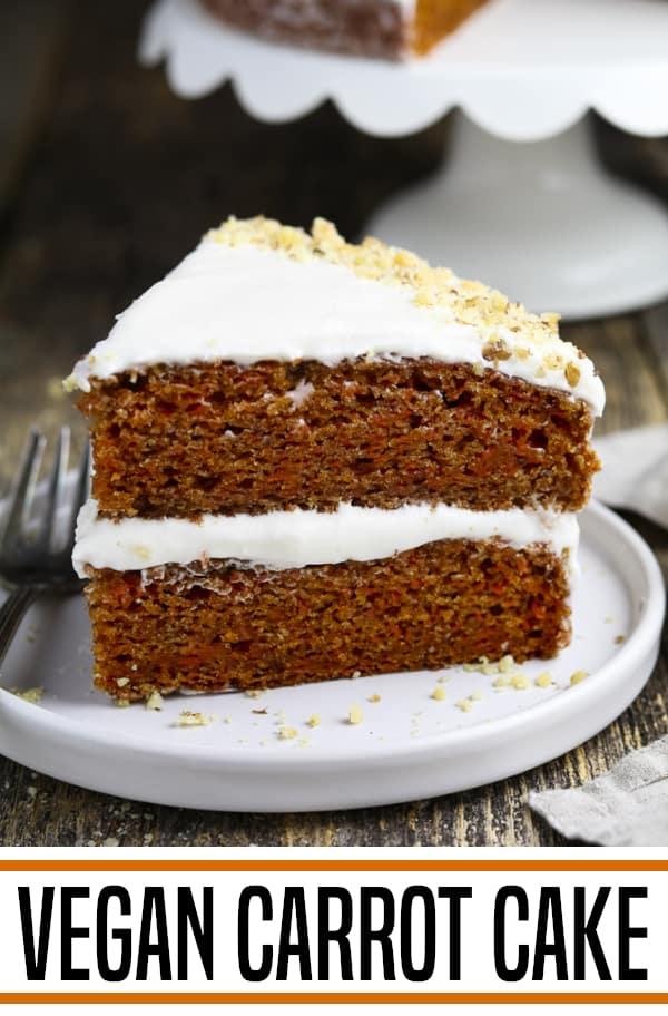 Vegan Carrot Cake on a white plate.