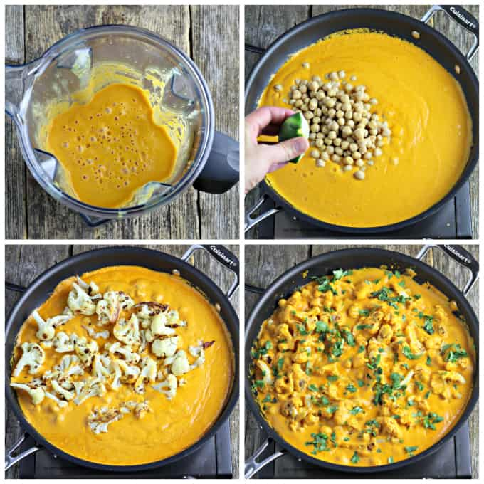 Four process photos of cooking blended curry sauce and adding cauliflower.