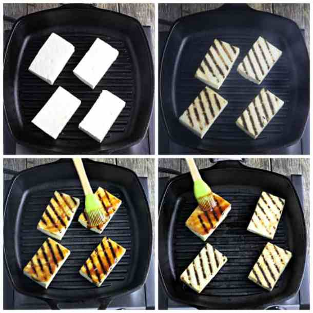 Four process photos of grilling tofu in a grill pan.