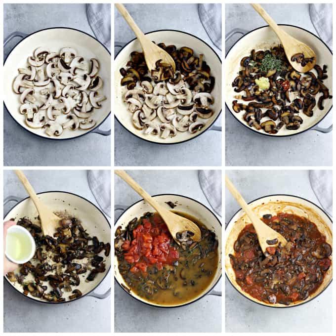 Six process photos of cooking mushroom ragu.