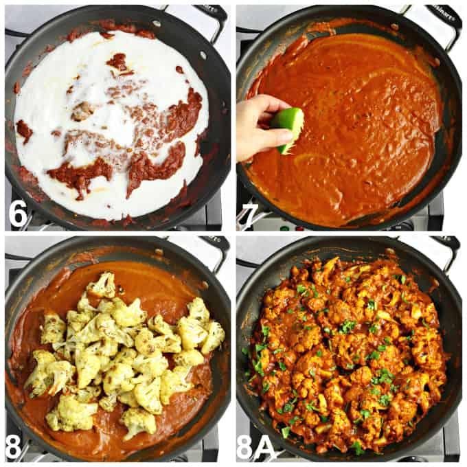Four process photos of making tikka masala sauce in a pan.