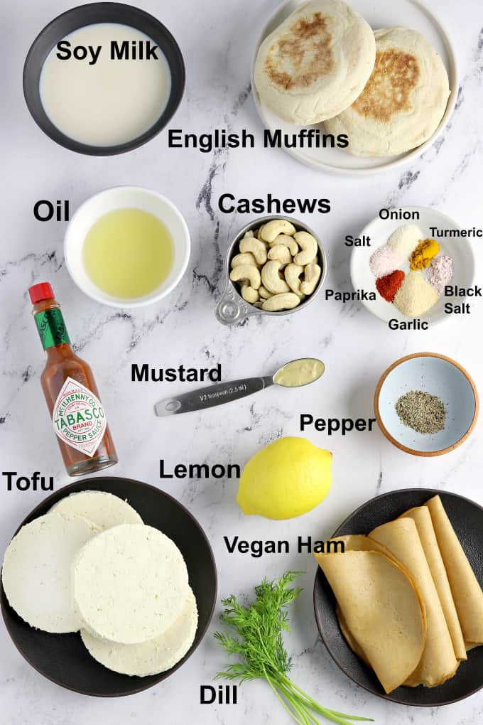 Ingredients for recipe on a marble table top.