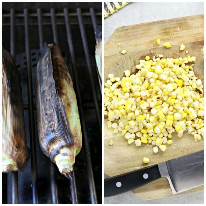 2 process photos. One grilling corn and the other cutting corn.