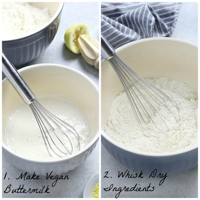 2 process photos of whisking ingredients in a bowl