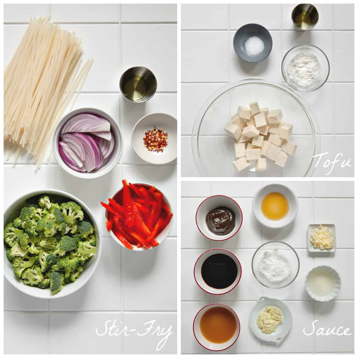 Photo of all ingredients to make the recipe on white table.
