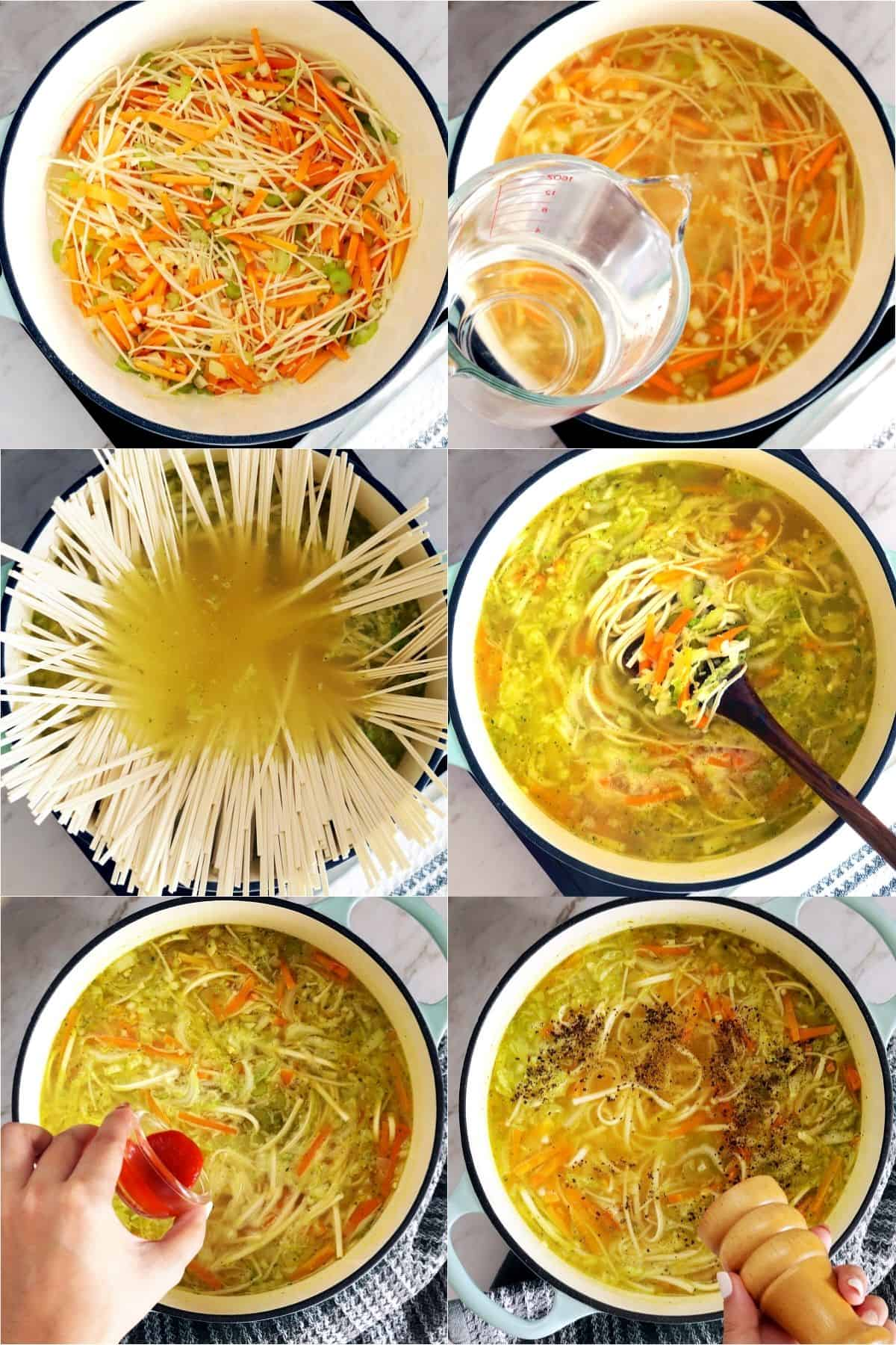 6 process photos of cooking udon noodle soup.
