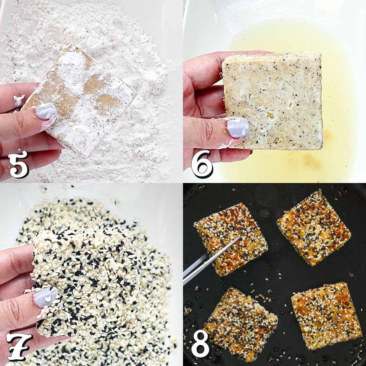 4 process photos of breading and frying tofu.