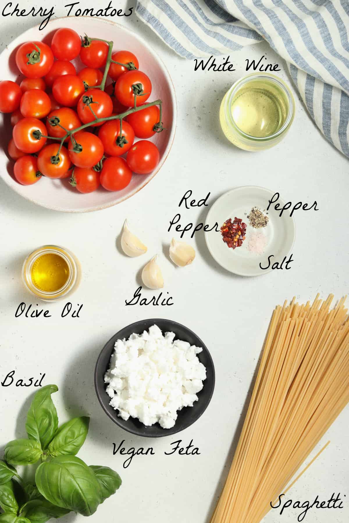 Ingredients to make the recipe spread out on a table top.