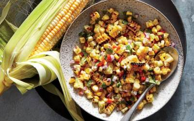 Roasted Tomato, Grilled Corn,and Quinoa Salsa