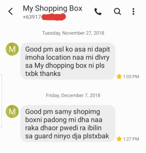 text message before delivery by my shopping box