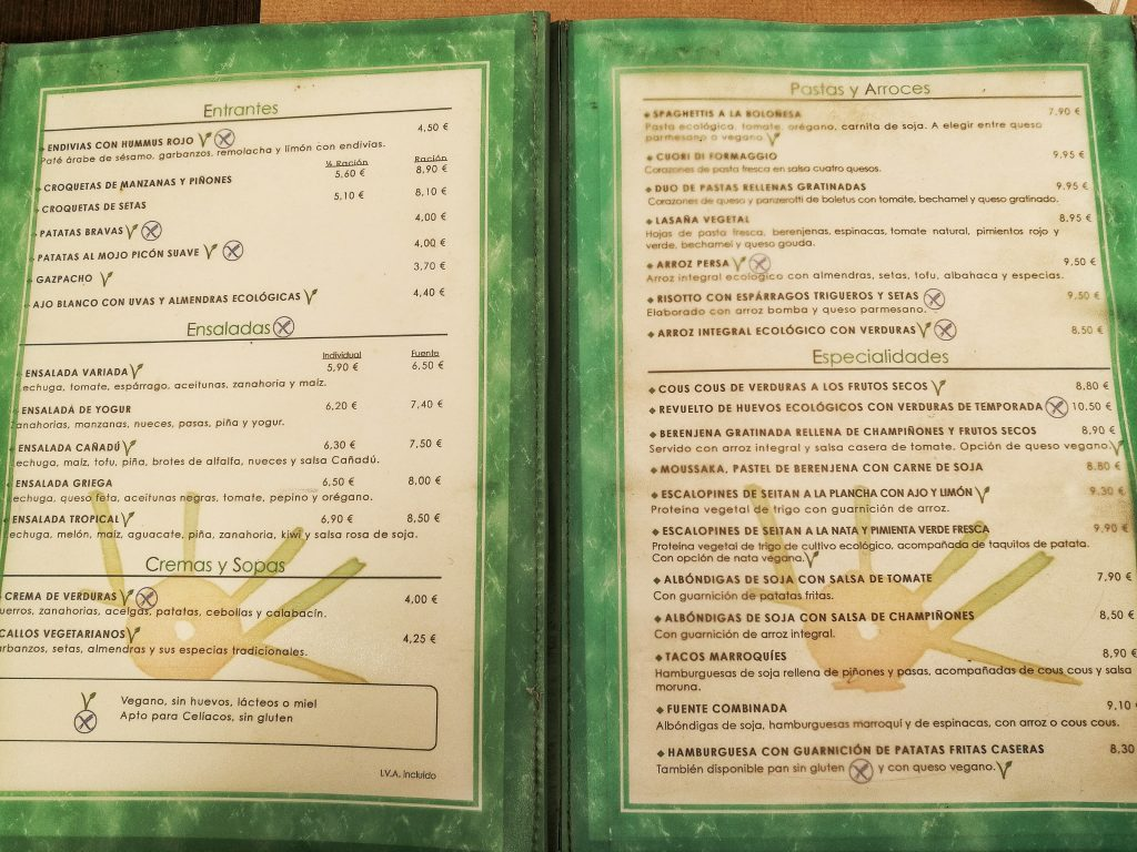 Restaurante Vegetariano Cañadu Carta