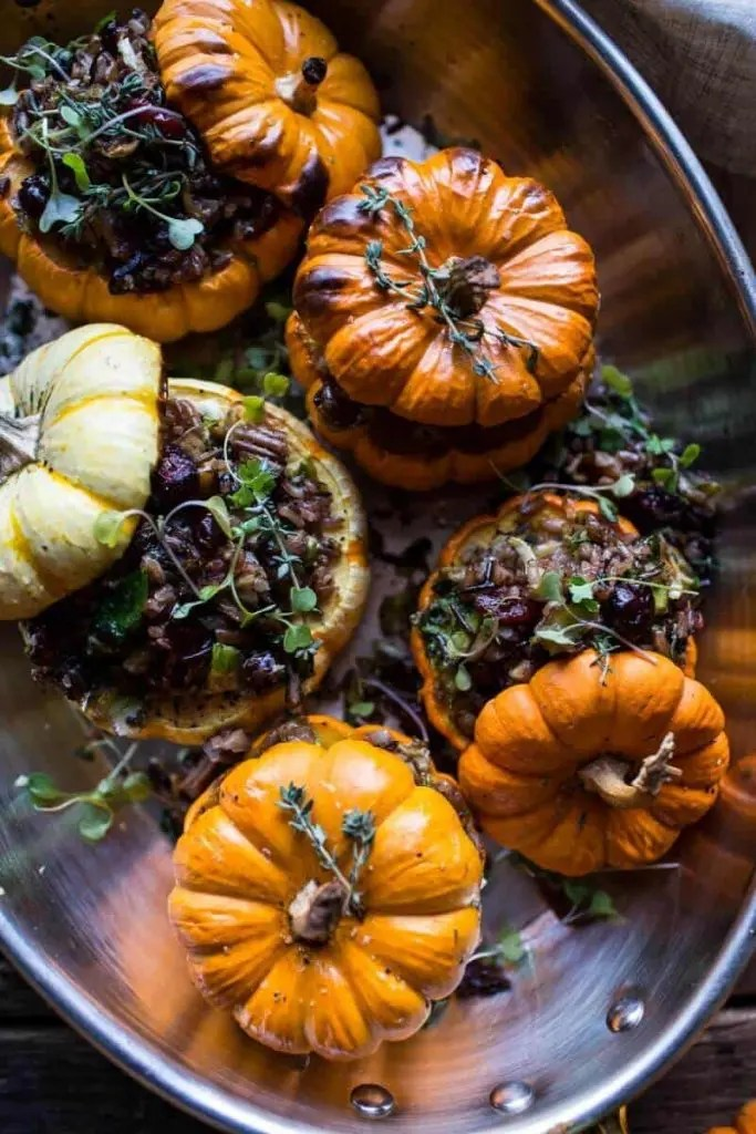 Vegan Christmas Dinner Nutty-Wild-Rice-and-Shredded-Brussels-Sprout-Stuffed-Mini-Pumpkins7