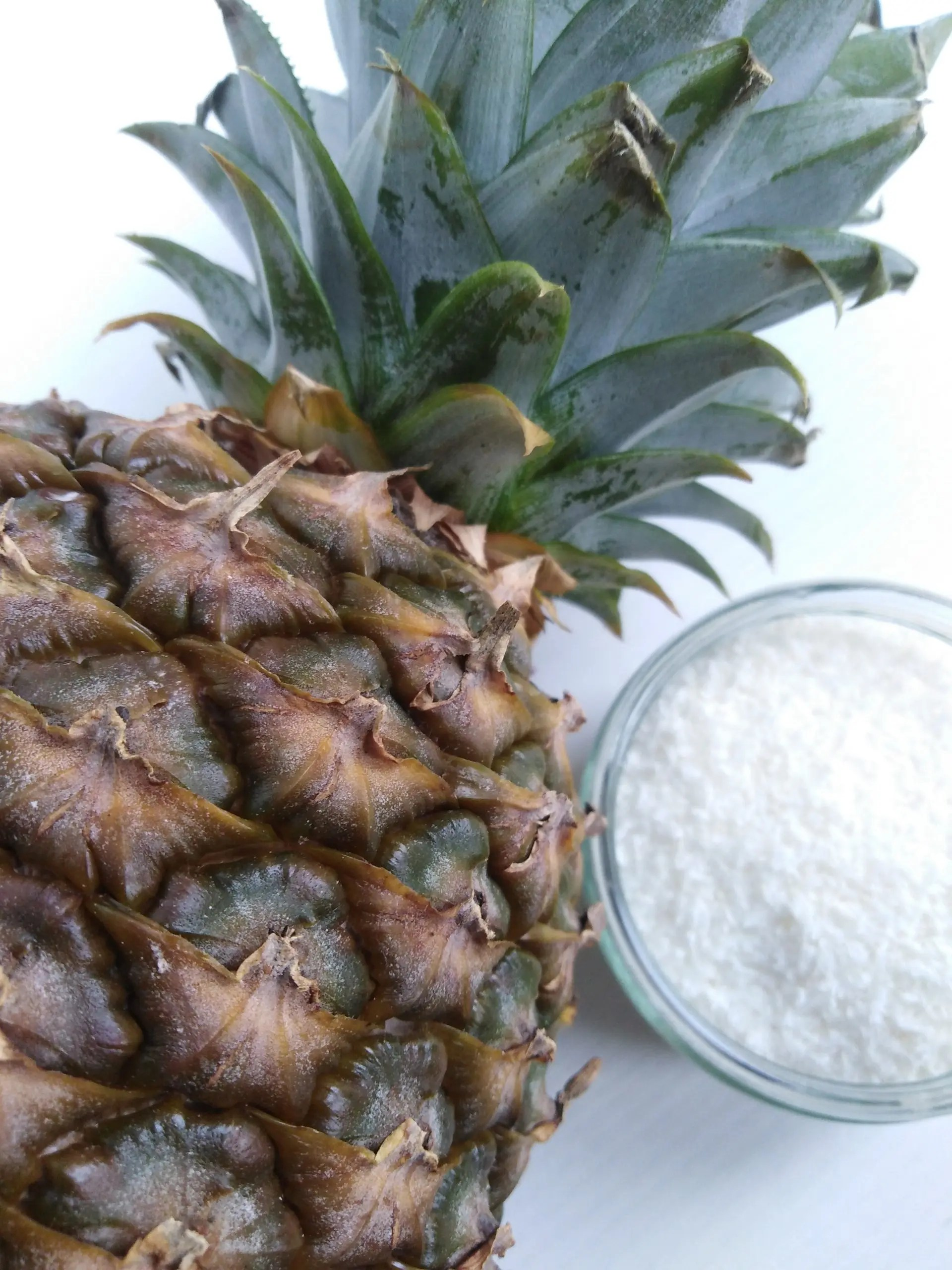 close-up of pineapple and dried coconut, ingredients for the pineapple balls