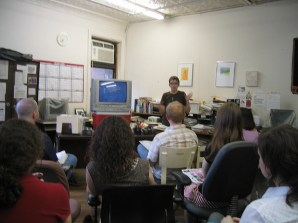 Introducing a screening and discussion of the animal rights film Earthlings, at the Socialist Party NYC Local's office, in 2007