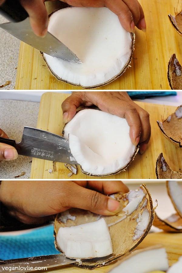 Comment Couper Une Noix De Coco : comment, couper, Comment, Ouvrir, Shell, Mature, Retirez, Chair, (avec, Vidéo), Veganlovlie