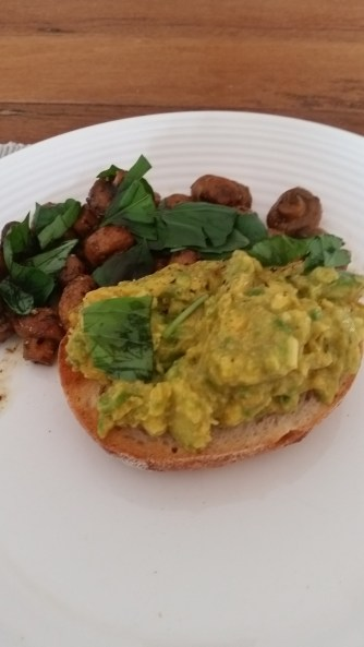 Smashed avo with tamari and thyme shrooms