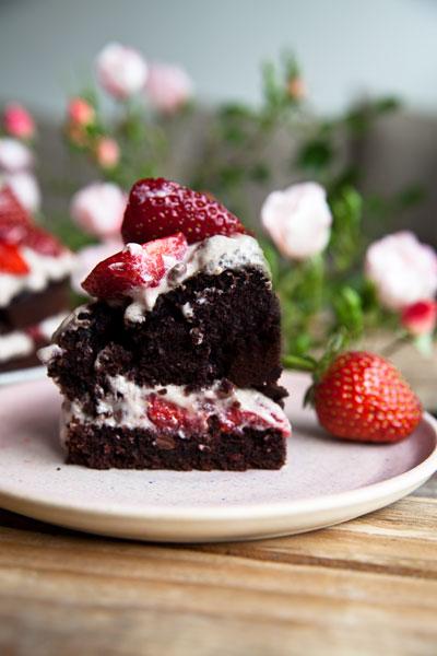 Schoko Erdbeere Kuchen vegan