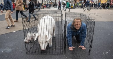 Game of Thrones star Jerome Flynn who is vegan poses in a cage