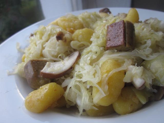 Sauerkraut, Gnocchi and Veggie Sausage Stirfry