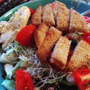 Salad with Mock Chicken - Vegan Nom Noms