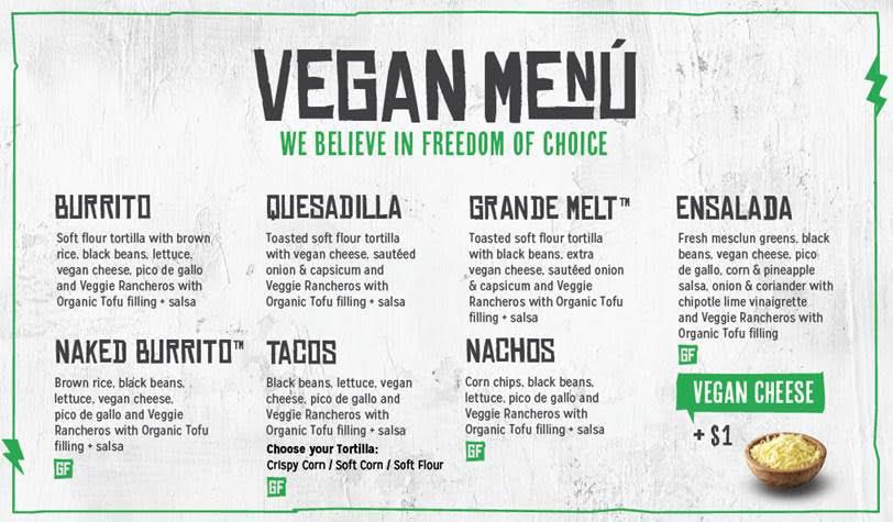 Vegan Fast Food Menu at Mad Mex