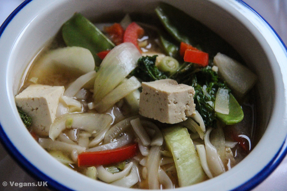Miso, veggie, tofu and noodle soup
