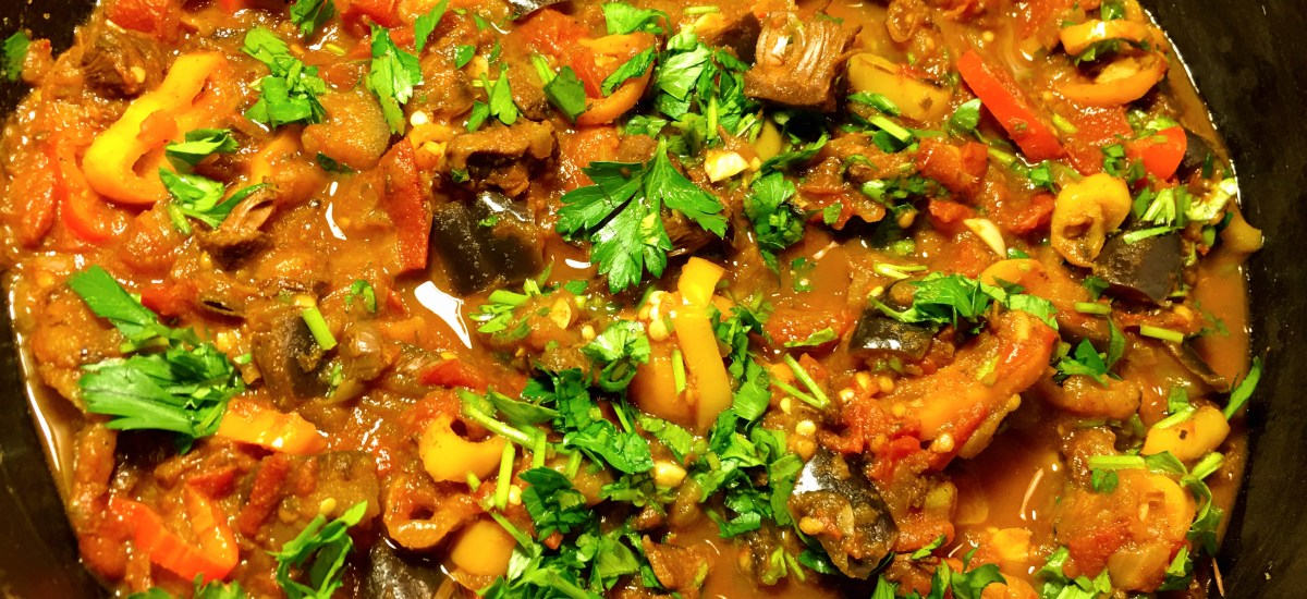 Colorful Tomato Eggplant Sauce With Jackfruit