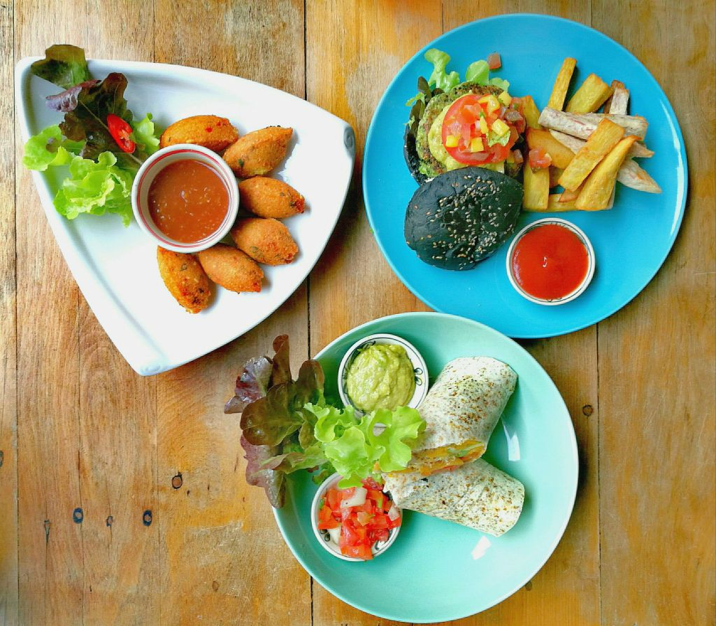 Vegan burger, burrito and Burmese fritters