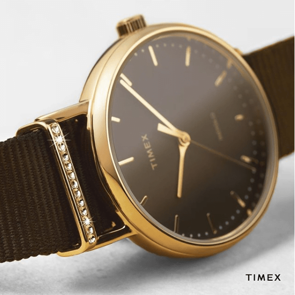 Close-up of a Timex timepiece