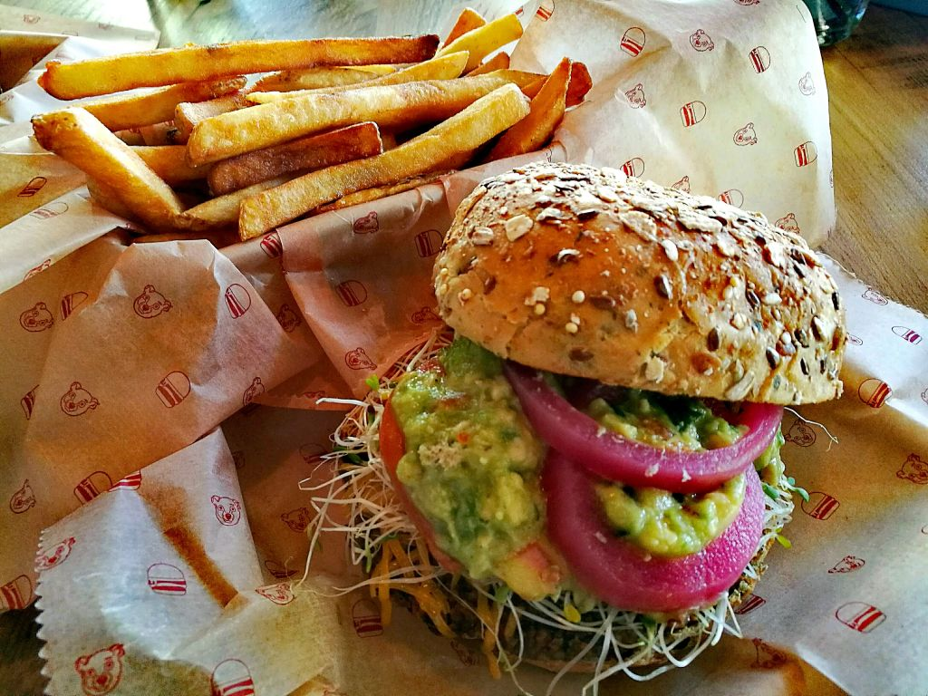 vegan burger with fries
