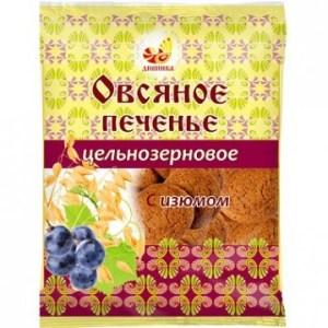 """Печенье овсяное с изюмом цельнозерновое """"Дивинка"""", 300 гр."""