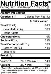 vegan potato soup nutrition info
