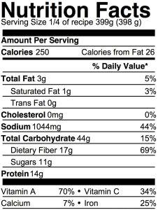 vegan lentil soup nutrition info
