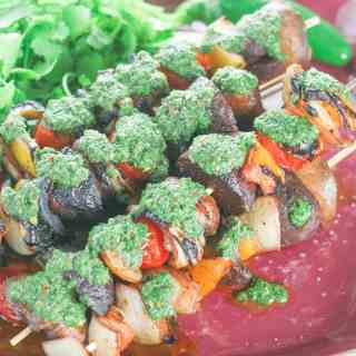 Grilled Chilean Vegetable Kabobs with Basil Chimichurri Sauce