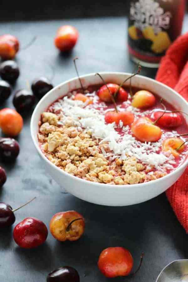 cherry vegan smoothie bowl