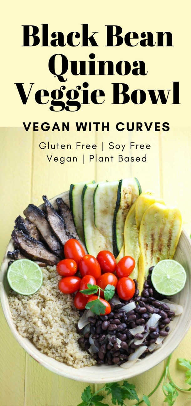 This veggie bowl is simple, affordable, and filling! Using black beans and quinoa, this veggie bowl is full of plant based protein. Using summer veggies like zucchini and yellow squash and hearty portobello mushrooms, this veggie bowl makes a great meal prep dish!